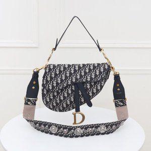 Dior Blue Oblique Jacquard Mini Saddle Bag